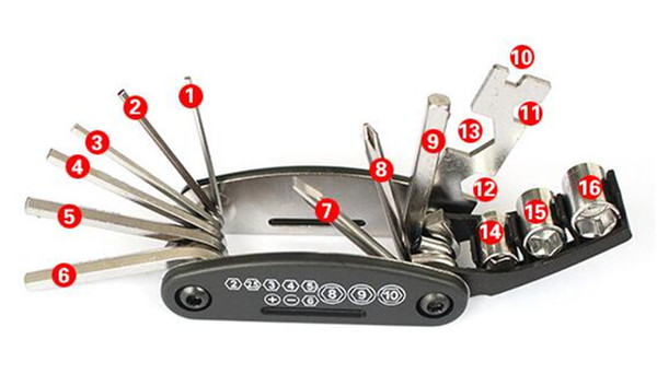 16 in 1 Folding Bike Repair Tools Bicycle Repairing Cycling Tool Kit Wrench Screwdriver Chain Carbon Steel Multifunction Tools Fast Shipping