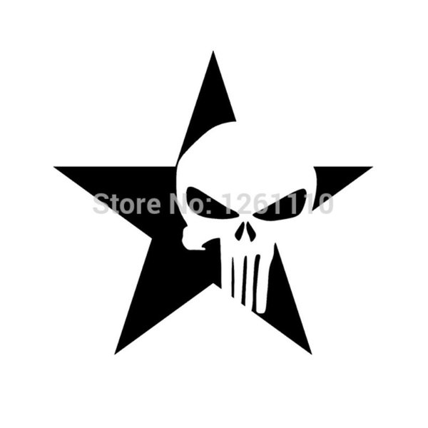 HotMeiNi Wholesale 20pcs/lot Punk Star Skull Vinyl Decals Stickers Guitar Rock For Car window Truck SUV Bumper Laptop Locker Glass