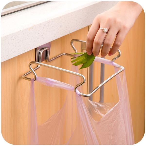 Stainless steel kitchen trash bag holder door hook garbage bags hanger Cupboard Stand Support storage rack kitchen Accessories