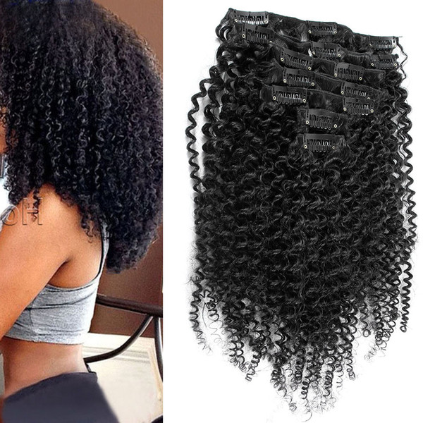 best selling Mongolian kinky curly hair clip in 7pcs Set clip in human hair extensions Natural Hair Clip Ins 4b 4c