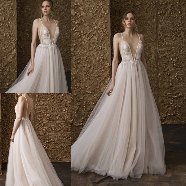 683fe10583 Sexy Nurit Hen 2018 Wedding Dresses Bohemia Backless Lace Appliqued Bridal  Gowns Spaghetti Plunging Neckline Beach