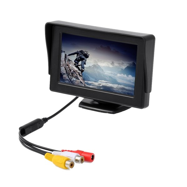 KELIMA Car Rear View Camera with 7 LED Night Lights with 4.3 inch Display 2-in-1 Set Monitor Camera Support Rearview Camera Input