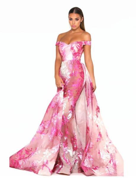 Evening dress Long Dress Short Sleeve Printed Off-Shoulder Mermaid Can be customized Modern Classic fashion popular