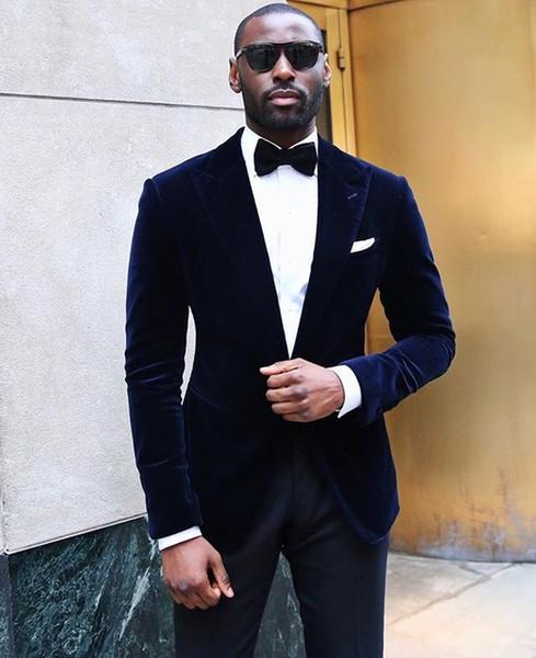 Newest Dark Blue One Button Peak Lapel (Jacket+Pants+Tie) Groom Tuxedos Groomsmen Best Man Suit Mens Wedding Suits Bridegroom