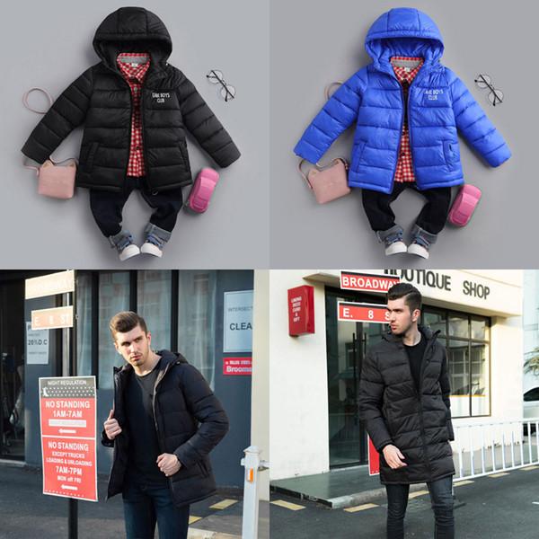 Aile Aşağı Ceketler Suits Çocuklar Kapşonlu Polyester Eklemek Kaşmir Sıcak Mektubu Giysi Adam Baba Yetişkin Uzun Kısa Işık Palto Fermuar Cepler Kış