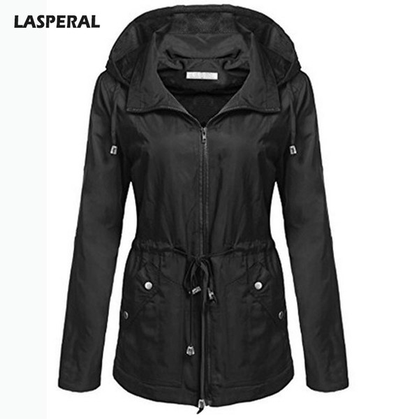 LASPERAL Autumn Winter Waterproof Bomber Jackets Women Fashion Hooded Slim Waist Pleated Jacket 2017 Windproof Streewear Coat