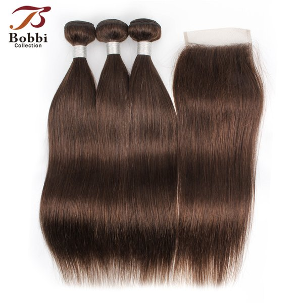 Color 4 Chocolate Dark Brown Straight Hair Bundles with Closure Brazilian Human Hair Weaves virgin hair extensions 4*4 Lace Closure