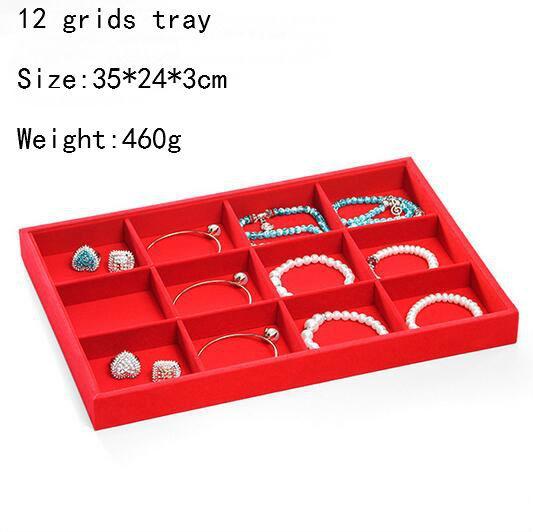 Hot Selling Big Red Velvet Jewelry Display Jewelry Box Ring Organizer Showcase Necklace Shelf Earring Storage Bracelet Stand