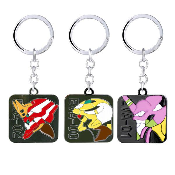 NEON GENESIS EVANGELION Keychain EVA 01 02 03 Emaille Metall Schlüsselanhänger Llaveros Auto Tasche Schlüsselanhänger Chaveiro Anime Schmuck
