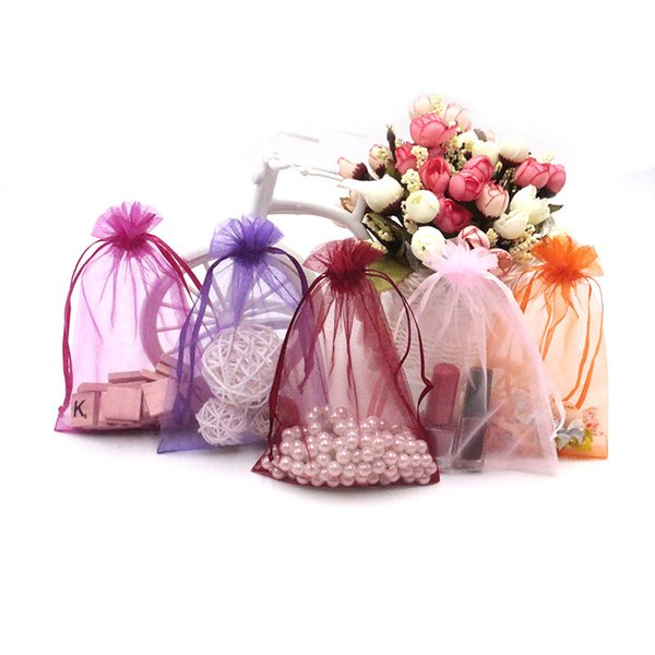 300PCS Sheer Organza Bag Drawstring Mesh Jewelry Packing Pouches 11*16cm Toy Candy Storage Wedding Candy Gift Packing Bags