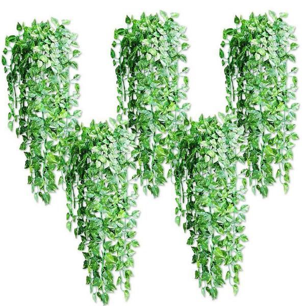 100 stücke Künstliche Pflanzen Gefälschte Hängende Reben Pflanze Grüne Efeu Blätter Garland Party Wanddekoration Hochzeit Reben Wohnkultur
