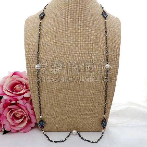 "N082002 38"" White Keshi Pearl Hamsa Hand Evil Eye Cz Pave Long Chain Necklace"