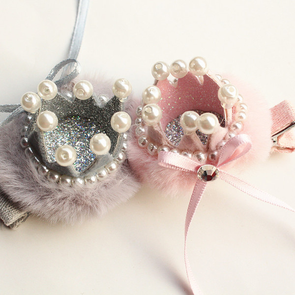 2018 10pc/lot New Delicated Girl Prince Crown Hair Clip 10pcs/lot Ribbow Barrette Luxury Korean Cute Hair Pearls