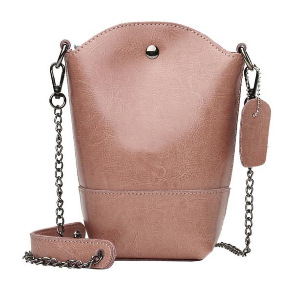 JCXAGR Shoulder Bag New High Quality Leather Girl Fashion Mini Bucket Hasp Crossbody Women Chains Shoulder Bag Borse Da Donna 30