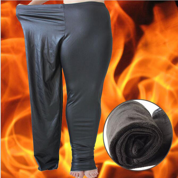 XL-6XL Dicke weiche Winter Warm Kunstleder Oversize Sexy Damen PU Samt Legging Jogger Hosen Mode Slacks Hosen Plus Größe