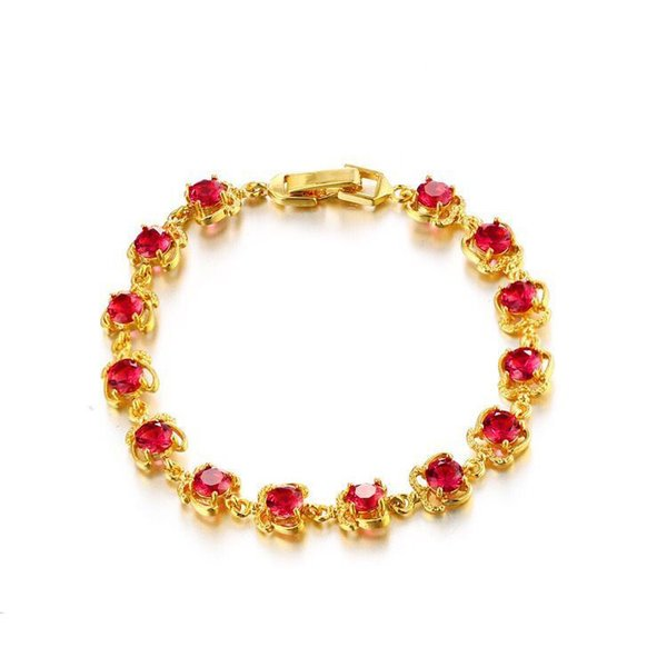 (291B) Vermelho / Verde Cubic Zircon Pulseiras Para As Mulheres Prong Setting 24 k Pure Gold Plated Alta Qualidade