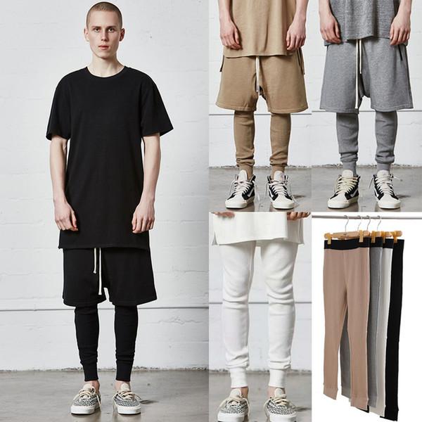 Страх Бога мужчины леггинсы брюки высокое качество вафельные хлопковые колготки Джастин Бибер хип-хоп уличная бегуны брюки черный белый серый хаки MQH1108