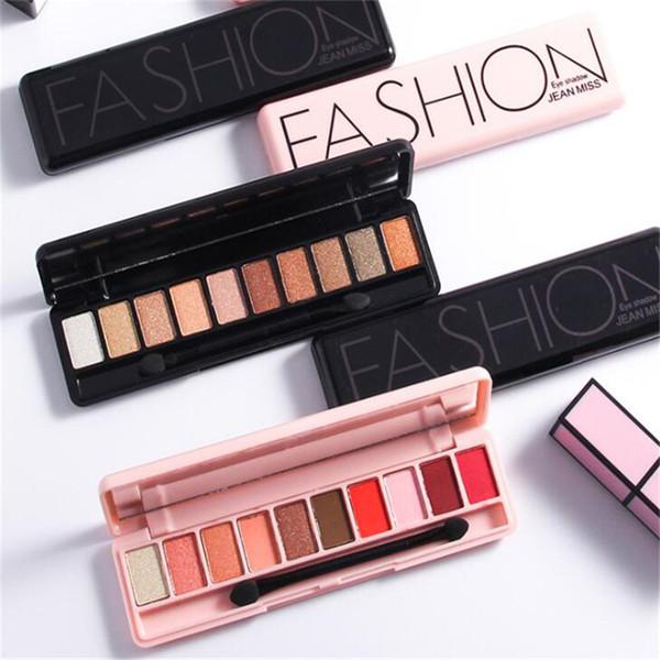 10 colores paleta de sombra de ojos Shimmer Mate Sombra de ojos Paleta de maquillaje Sombra de ojos Maquillaje Natural Set de cosméticos con un cepillo envío gratis