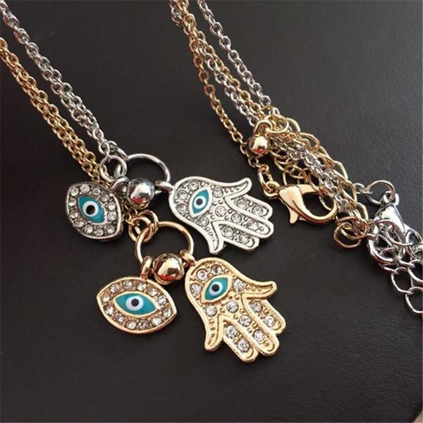 Blue Evil Eye Hamsa Fatima Palm Necklace lucky Turkish Kabbalah hand pendants for women best friend best friend fashion jewelry 161222