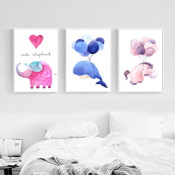Nordic Style Watercolor Whale Elephant Horse Posters And Prints Wall Art Canvas Painting Decorative Picture Kids Room Decoration