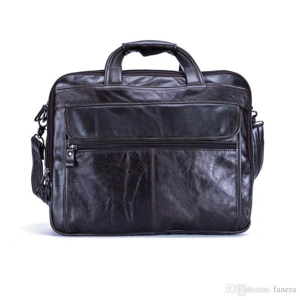 Nesitu Genuine Leather Mens Office Bag Men Briefcase Messenger Bags Business Travel Bag Portfolio 15.6'' Laptop #M9912