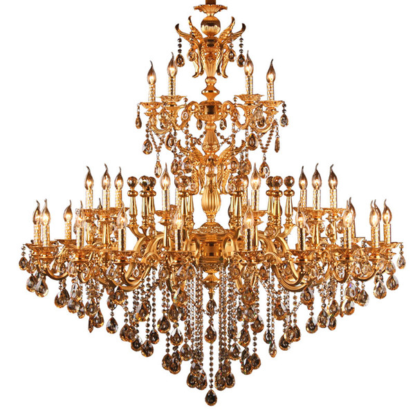 Large Royal Golden Crystal Chandelier Lamp Lustres Cristal Suspension Project Lighting Hotel Resteruant Villa Luminaire Lights
