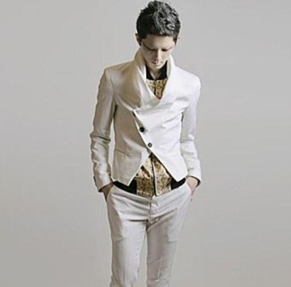 S-5XL Mode personnalisé foulard col blanc blazer décontracté court mince costume mince hommes nouvelle scène chanteur costumes vêtements