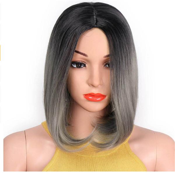 Kurze Bob Perücken Ombre graue und rote Perücke gerade synthetische Perücke für Frauen Hochtemperaturfaser Haar 12 Zoll