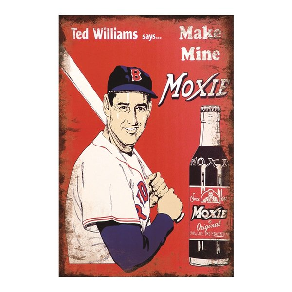 Ted Williams says Make Mine MOXIE vintage tin sign home Bar Pub Hotel Restaurant Coffee Shop home Decorative Retro Metal Poster