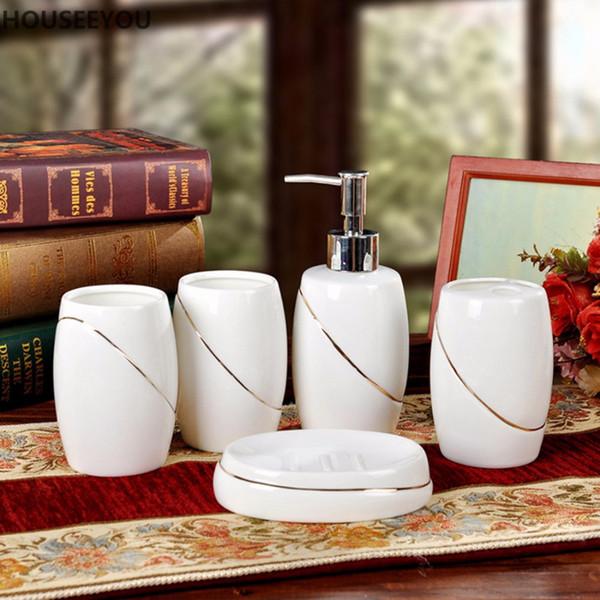 Lavagem Doméstica de luxo Escova Copo, Dispensadores de Sabão Líquido, Pratos de Sabão Osso China Cerâmica Banheiro Conjunto de Acessórios 5 pçs / set
