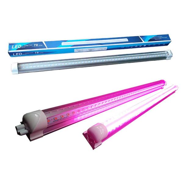 380-800nm Full Spectrum LED wachsen Licht LED wachsen Rohr 8Ft T8 V-förmige Integration Rohr für medizinische Pflanzen und Bloom Fruit Pink Farbe