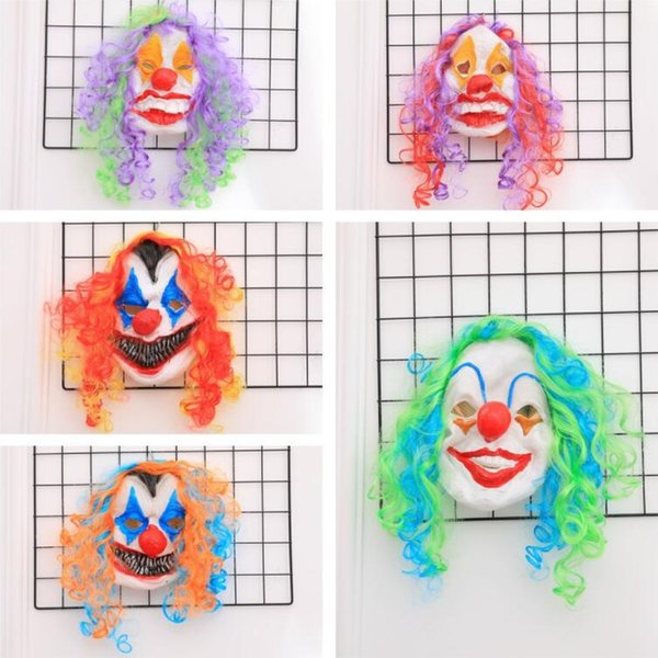 Unisex Full Face Halloween Funny Clown Masks With Hair Party April Fools' Day Joke Jester Mask Screaming Halloween Party Masks