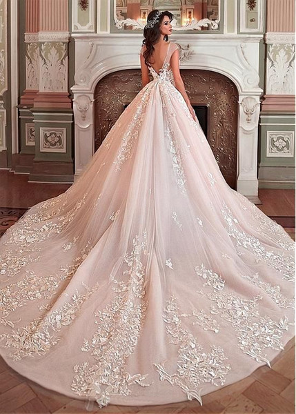 The one 2018 Hot Sale princess V-neck, spaghetti straps large size V-neck and open V-back Wedding Dresses Crystal Flowers Ball Gown