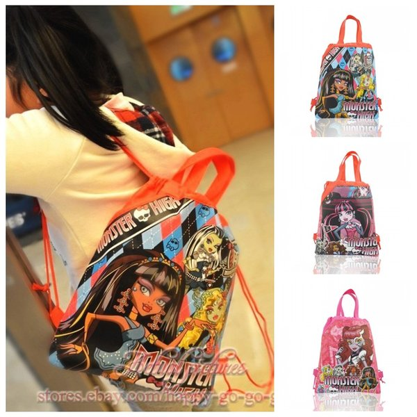 1PC Monster High Children Drawstring Backpacks Shopping/Travel Bags 34*27CM Non Woven Fabrics Kids Xmas Party Gift Home Storage