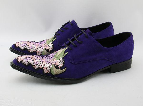 38-46 Genuine Leather Shoes Men Vintage Oxfords For Men Dress Shoes Lace Up Purple Suede Party Mens Stage Dance Shoes