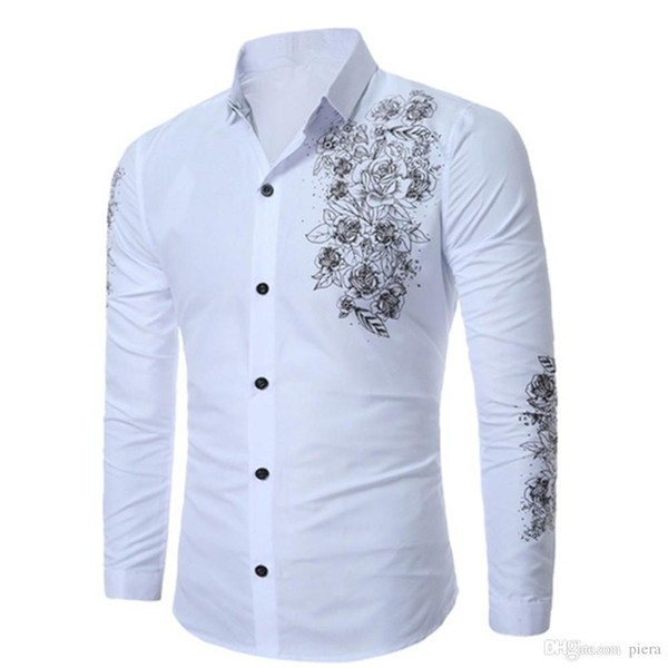 Floral Print Slim Men Shirt Chinese Style Retro Blouse Gentleman Wear Spring New Boys Tops Long Sleeve Male Blusa Big Size 3XL
