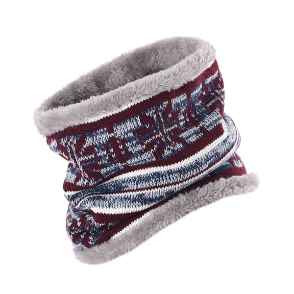[SUMEIKE] 2018 Winter Neck Scarf Men Unisex Kids Fur Collar Double Layer Wool Knitted Thick Warm Ring Scarf Women Neckerchief