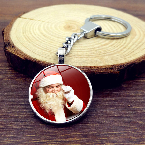 Santa Claus time gem key chain Christmas tree, snowman glass pendant key festival promotion activities to hang sell three pieces