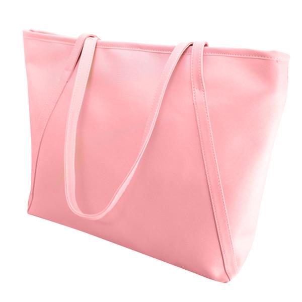Bolso de hombro grande de la moda de la cremallera de la bolsa de asas del bolso del totalizador del color sólido del bolso de las mujeres