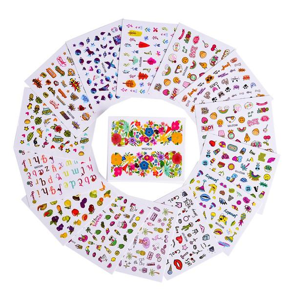 45 Teile / satz Blumen Wasser Nail art Aufkleber Feder Schmetterling Nette Bunte Designs Nagel Transfer Decals DIY Maniküre Dekoration