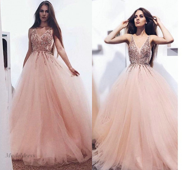 Crystals Beading A Line Prom Dresses Blush