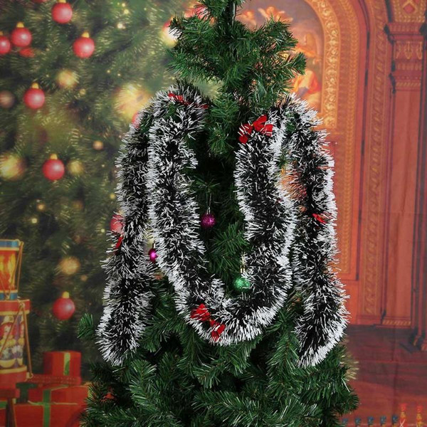 Pop 2m Christmas Decoration Bar Tops Ribbon Garland Christmas Tree Ornaments White Dark Green Cane Tinsel Party Xmas Tree Ornament Dhl Ship Christmas