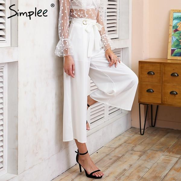 Simplee Metal ring tie up wide leg pants women capris Chic streetwear casual pants 2018 Spring summer beach elastic trousersY1882501