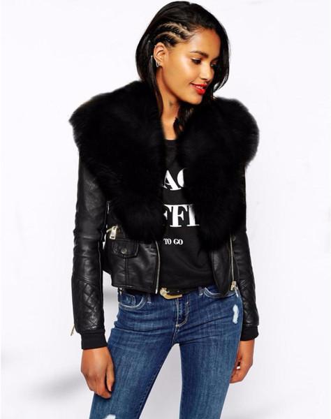 Acheter Femme De Luxe En Fausse Fourrure Col Veste De Mode à Manches Longues En Métal Zipper Court Noir En Cuir Veste Dhiver Outwear De 3876 Du