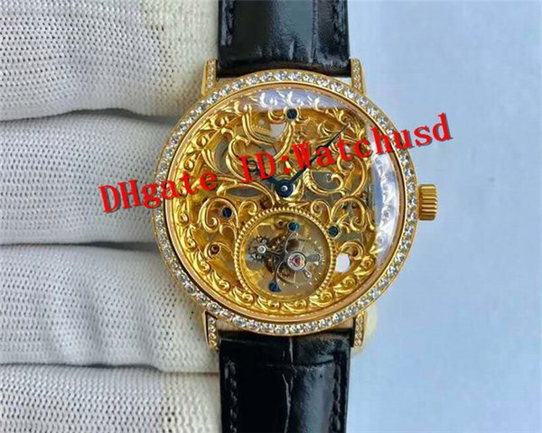 New Luxury ALTIPLANO Hand-winding Real tourbillon Skeleton Movement Sapphire Crystal Diamond Bezel Yellow Gold Case Leather Strap Men Watch
