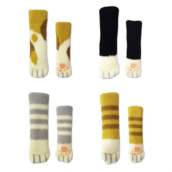 Chairs Legs Cover Cat Claws Knitting Double Deck Stool Furniture Accessories High Elastic Rubber Non Slip Table Foot Sleeve 0 99qh V