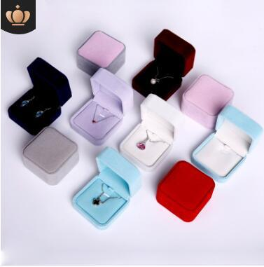 Velvet necklaces pendant jewelry boxes good quality new jewelry packaging gifts boxes blue pink beige purple box size 7x7cm 452