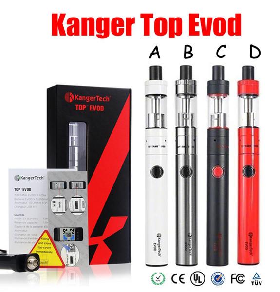 100% Original Kanger Topevod Starter Kit with 1.7ml Kangertech Top Evod Top filling Atomizer 650mah Evod Battery VOCC Coil subvod Vape pen