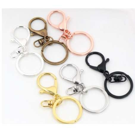 5pcs/lot 30mm Key Ring Long 70mm Popular classic 6 Colors Plated lobster clasp key hook chain jewelry making for keychain