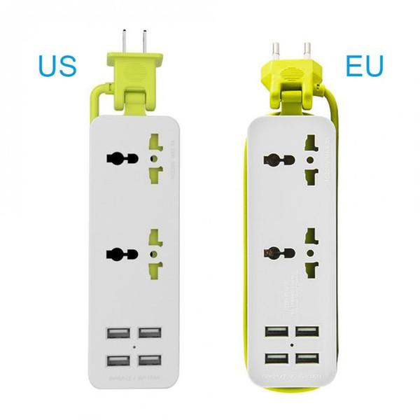 Портативный Путешествия Power Strip Surge Protector с 4 Смарт USB портов Multi-Port зарядное устройство Desktop Hub зарядное гнездо QJ